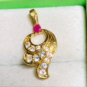 Ruby Diamond Rhinestone Gold Plated Pendant